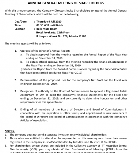 PUBLIC ANNOUNCEMENT ANNUAL GENERAL MEETING OF SHAREHOLDERS